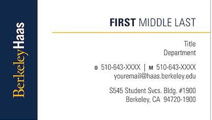 Mba Name Card by Uc Storefront Haas School Of Business