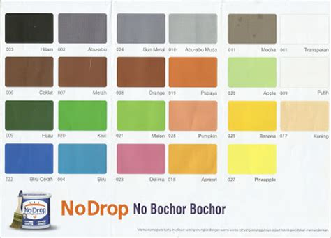 katalog warna cat no drop cat pelapis anti bocor tips haneutmoyan katalog warna no drop 2017