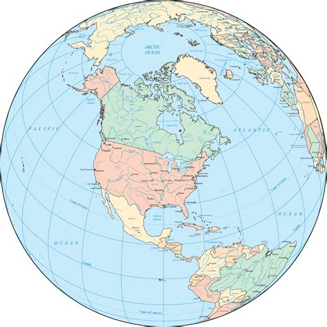 map of globe america globe mapsof net