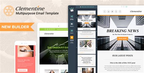 Clementine Responsive Email Templates Builder By Mailsalad Themeforest Envato Email Templates
