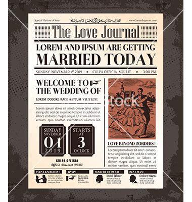 Hochzeit Artikel by Vintage Newspaper Wedding Invitation Template Vector By