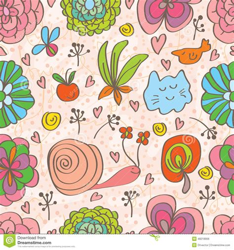 doodle fauna flower decor doddle seamless pattern stock vector