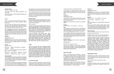 book layout glossary mila s meals a look inside the book glossary page