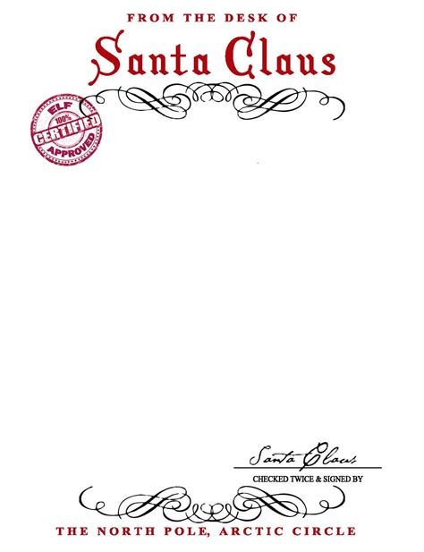 Santa Claus Letterhead Will Bring Lots Of Joy To Children Christmas Santa Santa Letter Letter From Santa Template