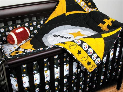 Football Crib Bedding Set 4pc Nfl Pittsburgh Steelers Crib Bedding Set Football Baby Quilt Sheets Bedskirt Ebay