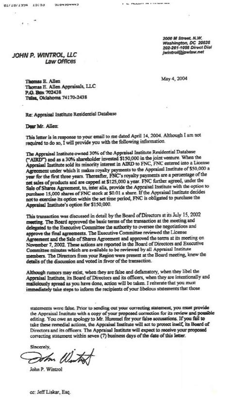 Appraisal Letter Reply Real Estate Industrial Complex