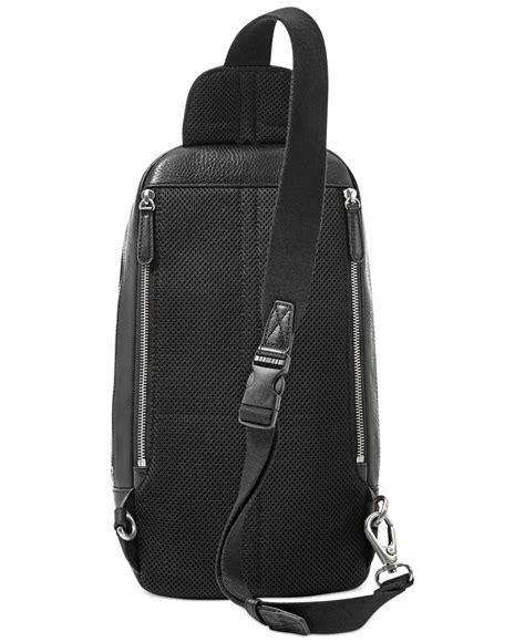sling pack backpack fossil mick leather slingpack backpack in black for lyst