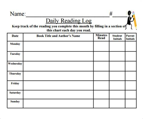 printable reading log high school 9 reading log templates free pdf doc