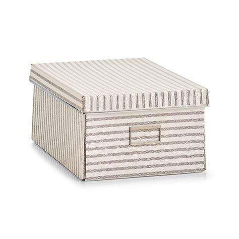 beige striped cardboard storage box  lid medium