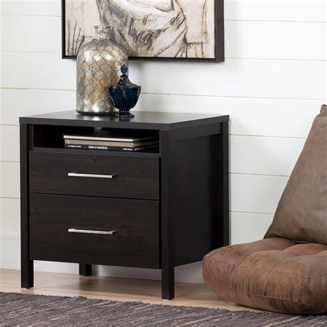 gravity two drawer nightstand south shore gravity 2 drawer nightstand in ebony finish