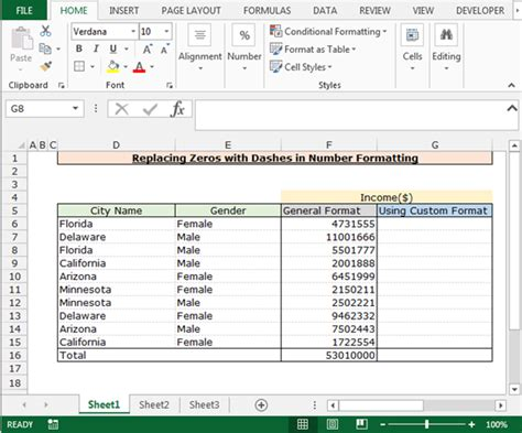excel format as number replacing zeros with dashes in number formatting