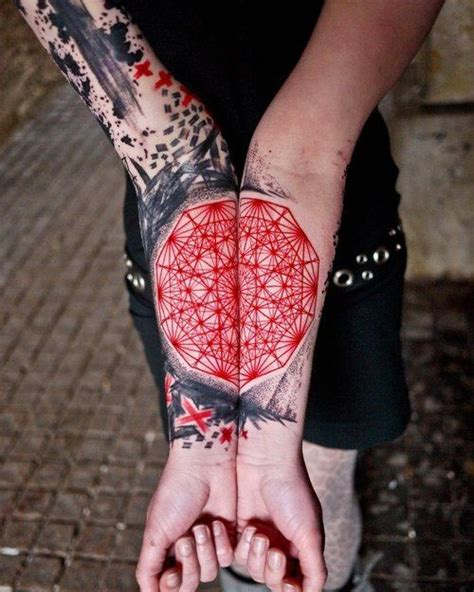 red pen tattoo artist use geometric fractal tattoo red ink tattoosday