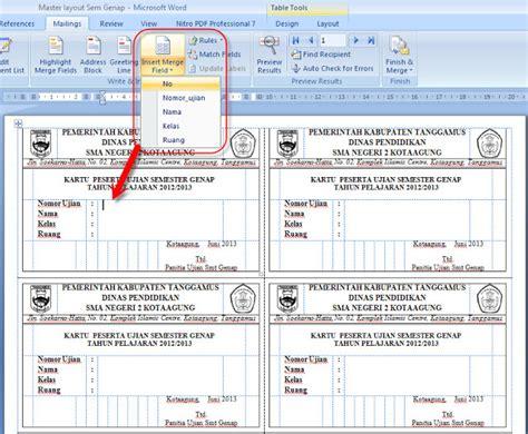 Buat Kartu Nama Di Excel | cara buat kartu peserta ujian dengan menggunakan fasilitas