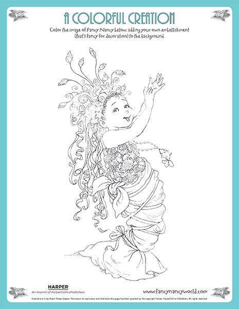 fancy nancy coloring pages a colorful creation printable coloring sheet fancy