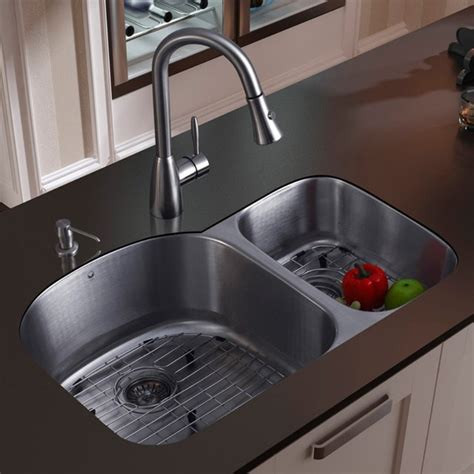 Vigo Platinum Double Offset Undermount Stainless Steel Kitchen Sink Set   Modern   Kitchen Sinks