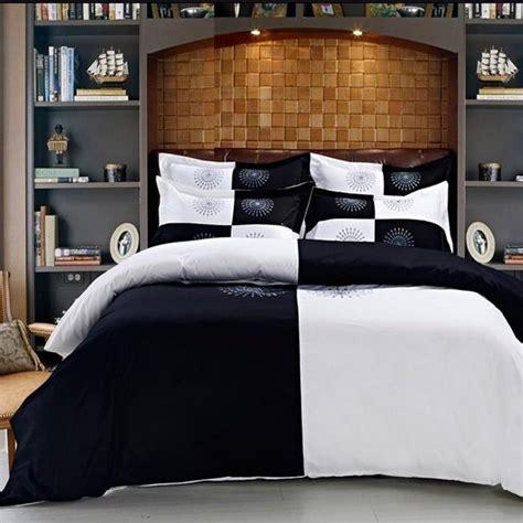 Hotel Bedding Collection Sets Discount Fashion Hotel Home Textile 4pcs Color Bedding Set King Size Black White Duvet