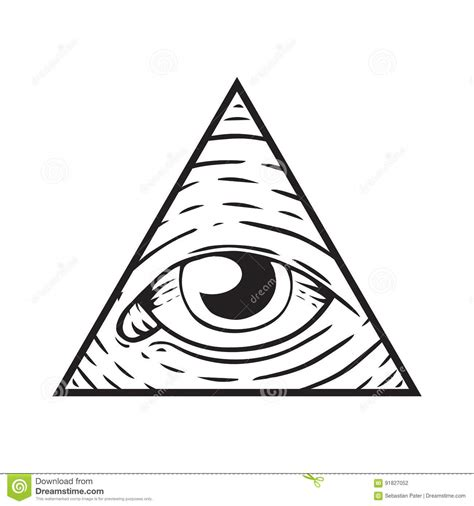 occhio illuminati illuminati sign eye of god stock vector illustration