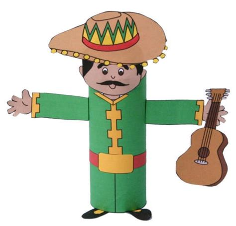 Mexican Paper Crafts - mariachi toilet paper roll craft