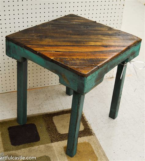 Reclaimed Wood Side Table Turquoise Reclaimed Wood Side Table By Artfulcastle On Etsy