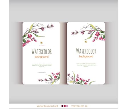 flower design name card beautiful watercolor flower business cards vector set 11