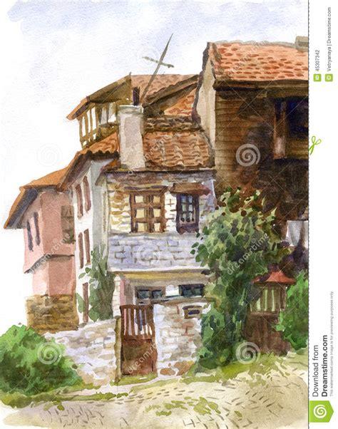 landscape with houses watercolor landscape with houses stock illustration illustration of blue bulgaria