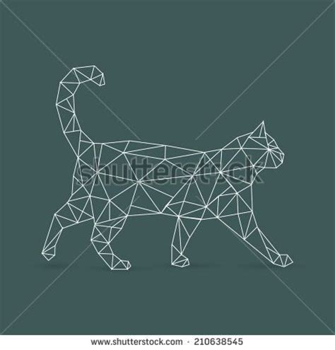 geometric tattoo geometric cat vector illustration