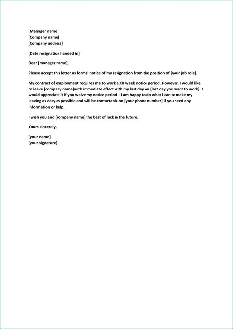 one month notice template resignation letter resignation letter one month notice