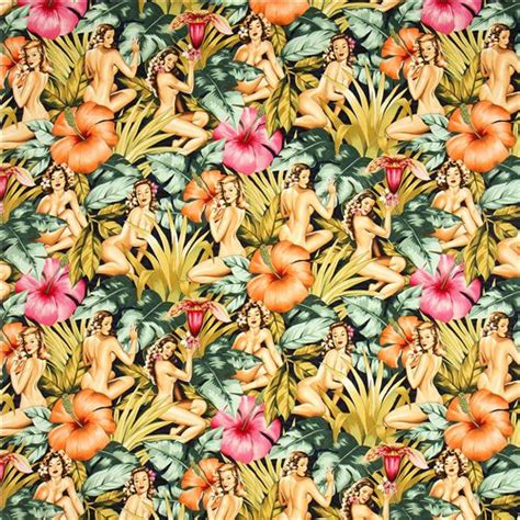 pin up pattern fabric pin up women fabric with big flowers by alexander henry