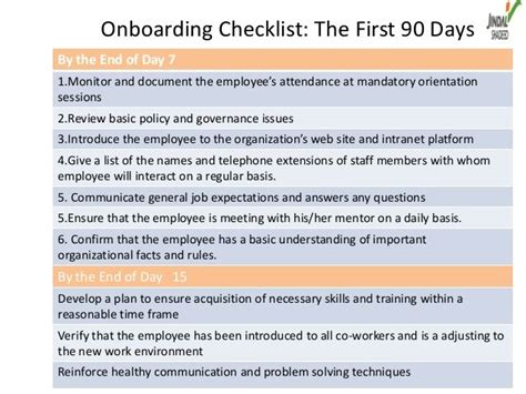 Onboarding Checklist The First 90 Daysby The End Of Day 71 Monitor And Document The Employee S Onboarding Policy Template