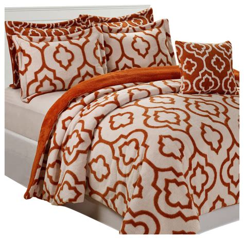 jacquard sherpa 6 piece bed spread set burnt orange