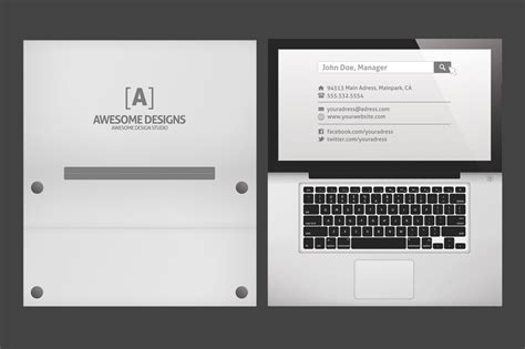 Folded Business Card Template laptop folded business card template business card
