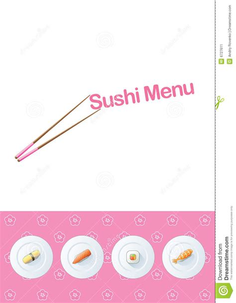 sushi menu template stock image image 6727611