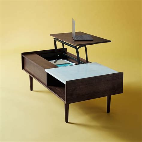 mid century pop up coffee table mid century pop up storage coffee table walnut elm