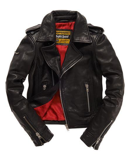 Jaket Black Premium List Abu womens premium leather biker jacket in black superdry
