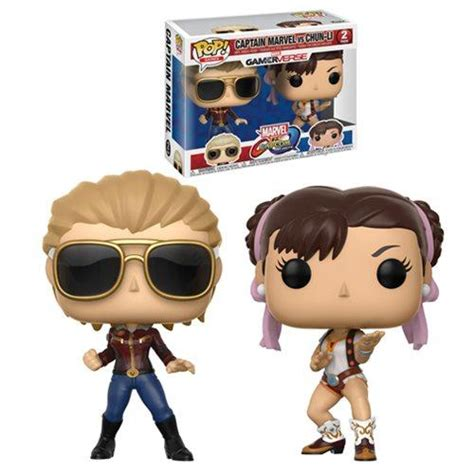 Funko Pop Marvel Vs Capcom Infinite Captain Marvel Vs Chun Li captain marvel vs chun li 2pk mvc infinite pop vinyl funko woozy moo