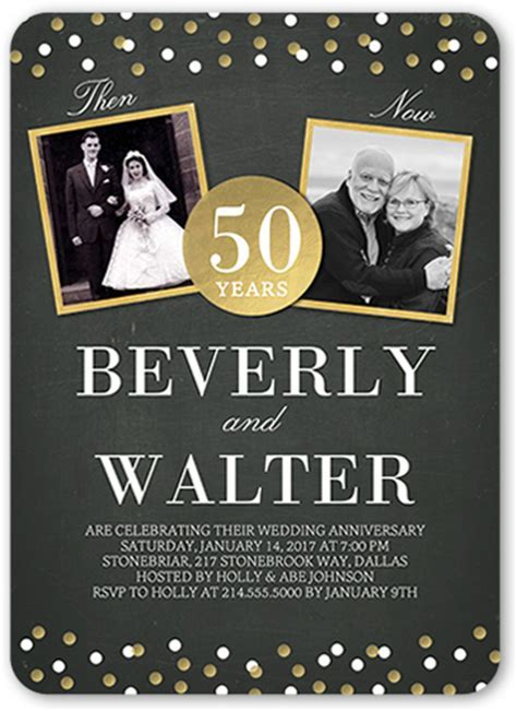 Then And Now Dots 5x7 Wedding Anniversary Invitations