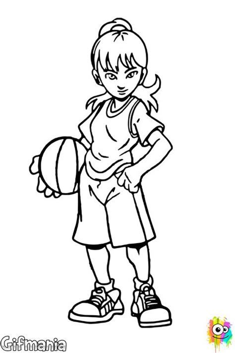 coloring pages of girl basketball players ni 241 a baloncestista baloncesto chica deporte dibujo