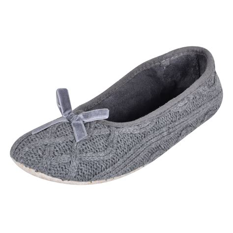 knitted ballerina slippers womens knitted cable stitch grey ballet slippers ballerina