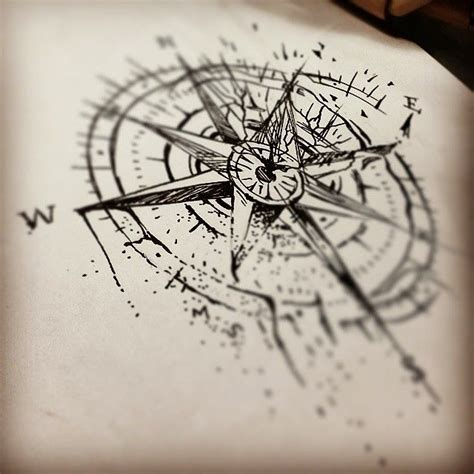 broken compass tattoo jenxtattoos sketch for tomorrow s broken
