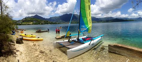 catamaran kayak guided hobie catamaran sailing holokai adventure