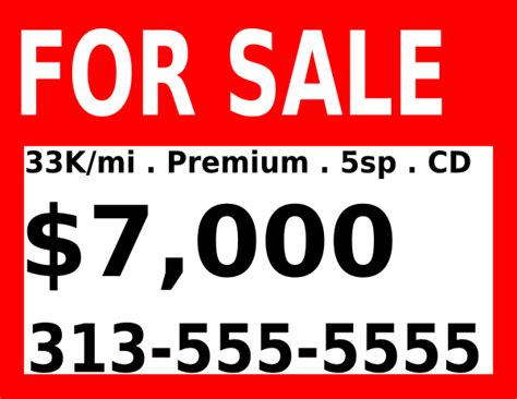 reivigeschlor for sale signs for cars