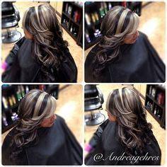 dark hair base with platinum highlights really pretty platinum highlights dark base