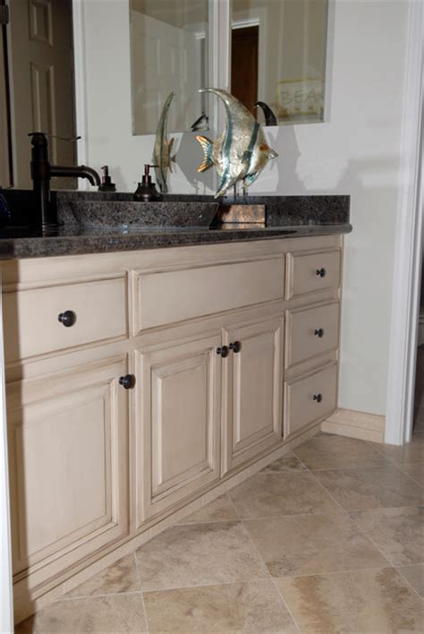 painted glazed bathroom cabinets traditional