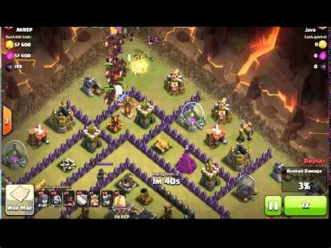 coc funniest attacks coc best attack 3 star war with hog youtube