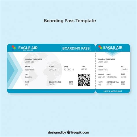 boarding pass template with blue details vector free