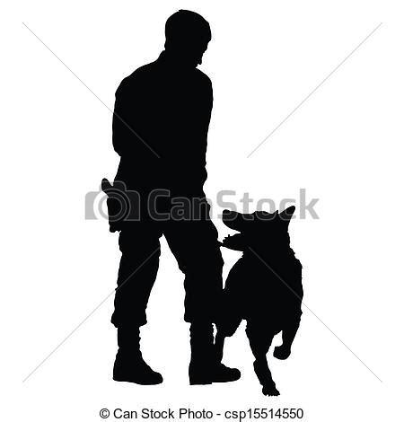 vecteur clipart de chien policier, 4 silhouette, de, a