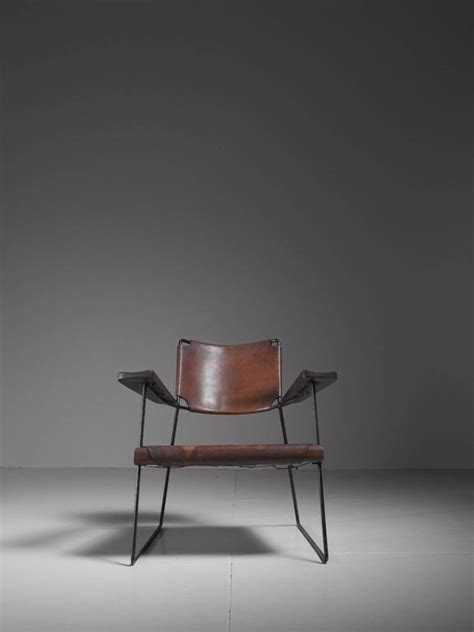 Studio Chair by Studio Furniture Chair With Heavy Saddle Leather American 1950s For Sale At 1stdibs