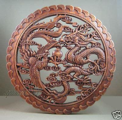 chinese hardwood carving panel  dragon phoenix ebay