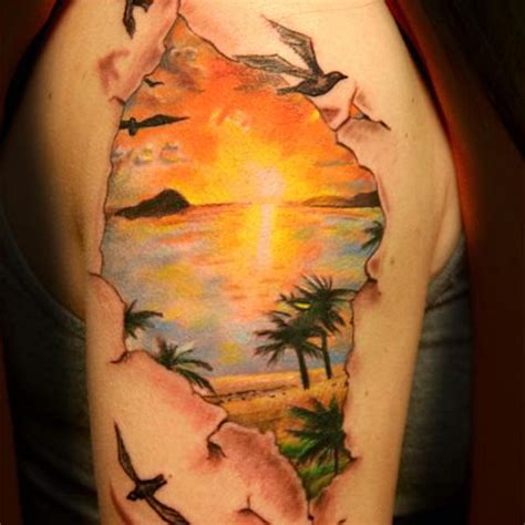 tattoo girl beach beach view realistic sun tattoo on girl right shoulder