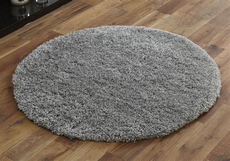 circle rugs large modern thick 5cm high pile silver grey shaggy circle